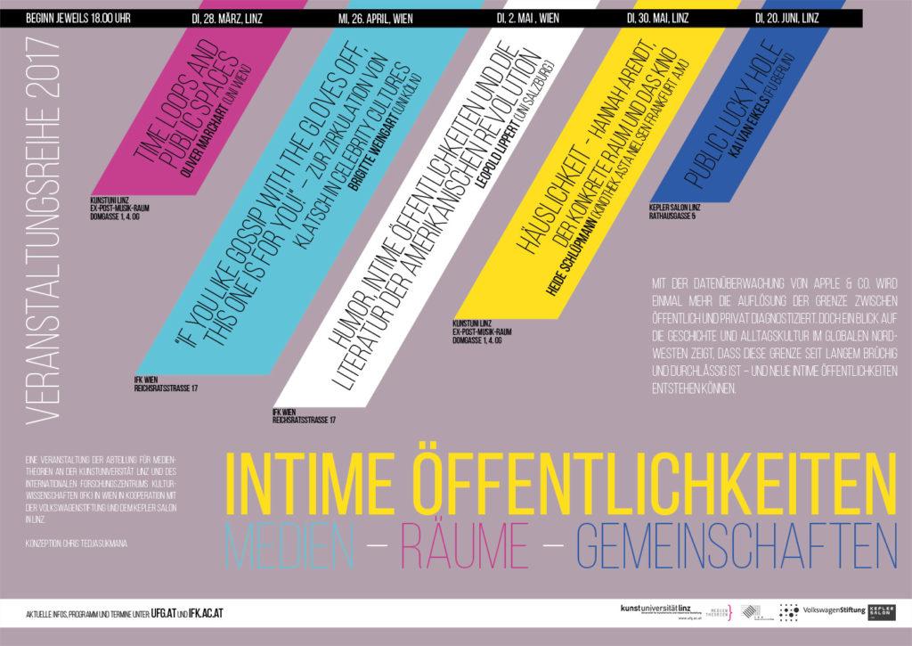 Plakat der Vortragsreihe INTIME ÖFFENTLICHKEITEN