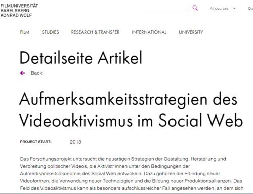 Pressemitteilung der Filmuni Konrad Wolf zum Projekt